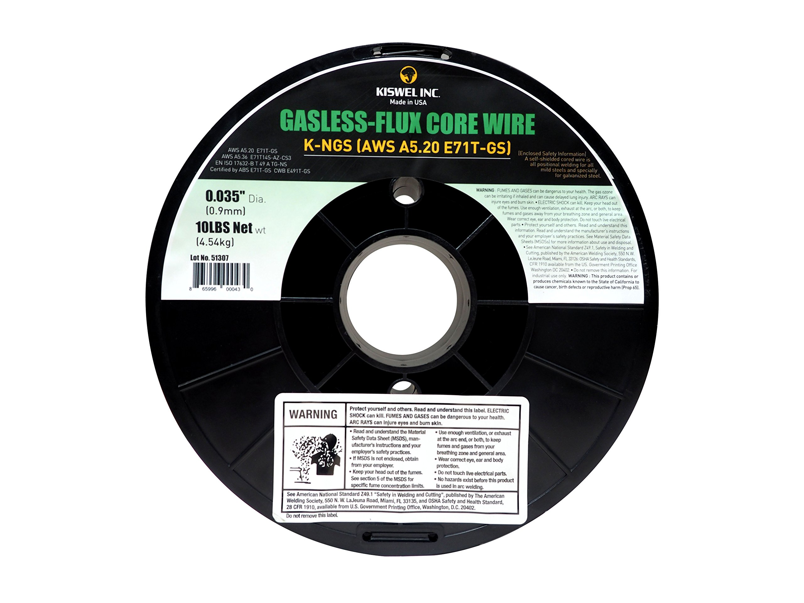 Kiswel USA K-NGS E-71TGS 0.035in. Dia 10lb. Gasless-Flux Core Wire Welding wire Made in USA by Kiswel