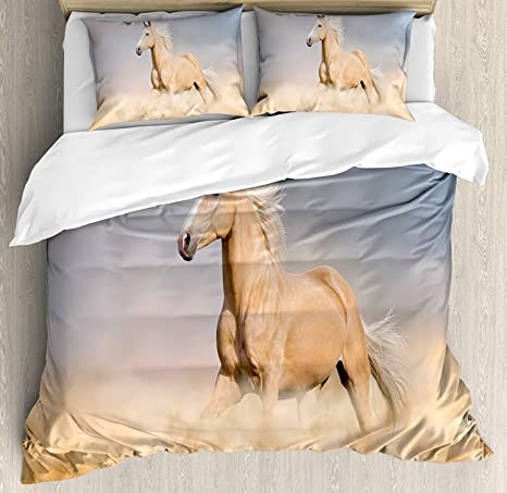Horses 4 Piece Bedding Sets Palomino Horse In Sand Desert With Long Blond Male Hair Power Wild Animal Duvet Cover Set With 2 Pillowcases For Childrens Kids Adults Purple Grey Peach Twin Size Kitchen Dining