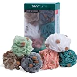 Premium Bath Poufs [6-Pack] - Large Exfoliating Mesh Puff Shower Loofahs w/ Sponges for A More Luxurious Lather - The Best Body Wash Scrub Sponge with Handle - By Savvy Bath