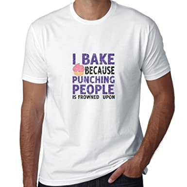 4ad647cb7 Image Unavailable. Image not available for. Color: Hollywood Thread I Bake  Because Punching People Is Frowned Upon Funny Chef Men's T-Shirt