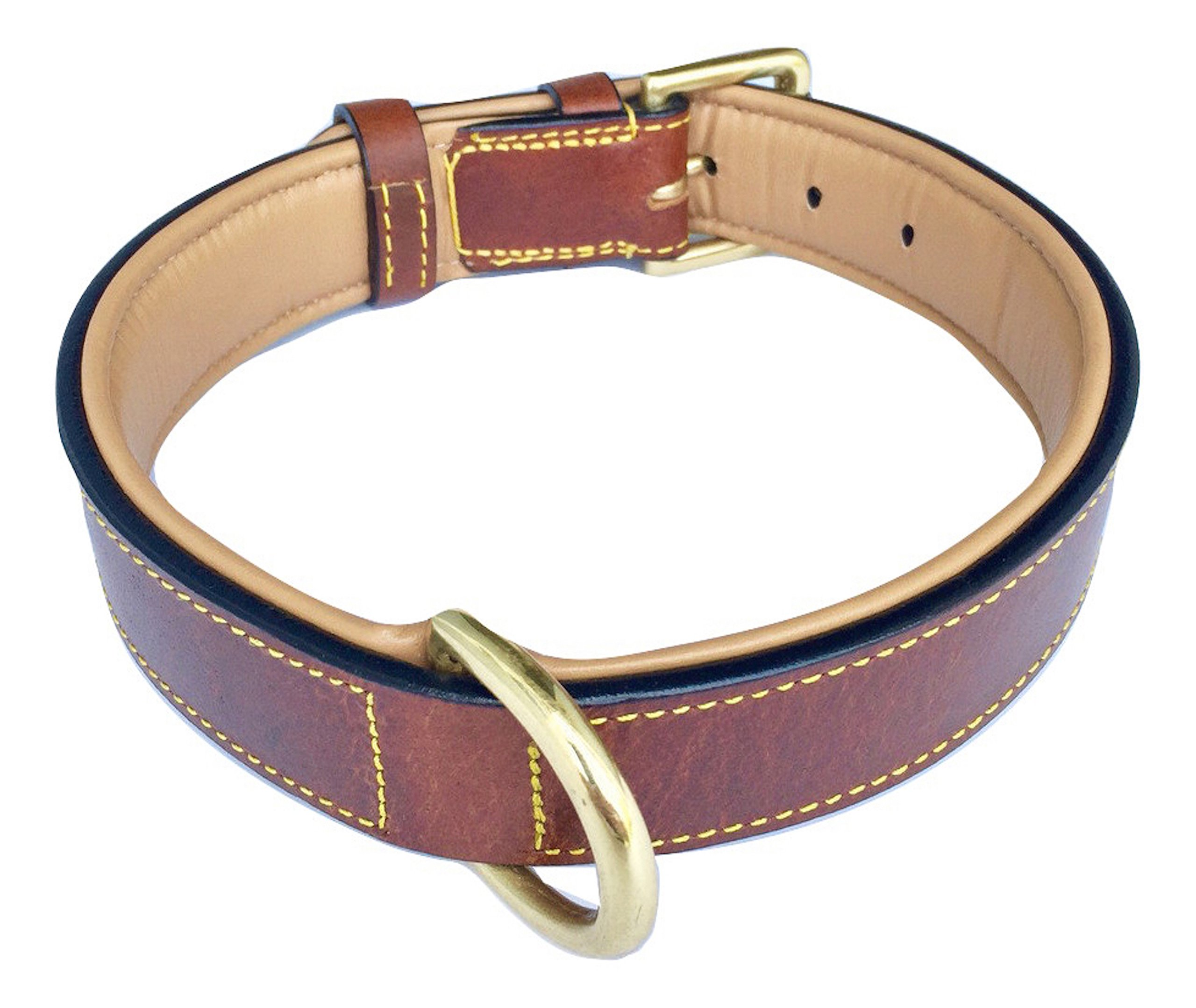 Soft Touch Collars Real Leather Padded Dog Collar, XL Brown, 28'' Inches Long x 1.75'' Inches Wide, Neck Size 22'' to 25'', Full Grain Genuine Luxury Leather for XLarge Dogs by Soft Touch Collars (Image #2)
