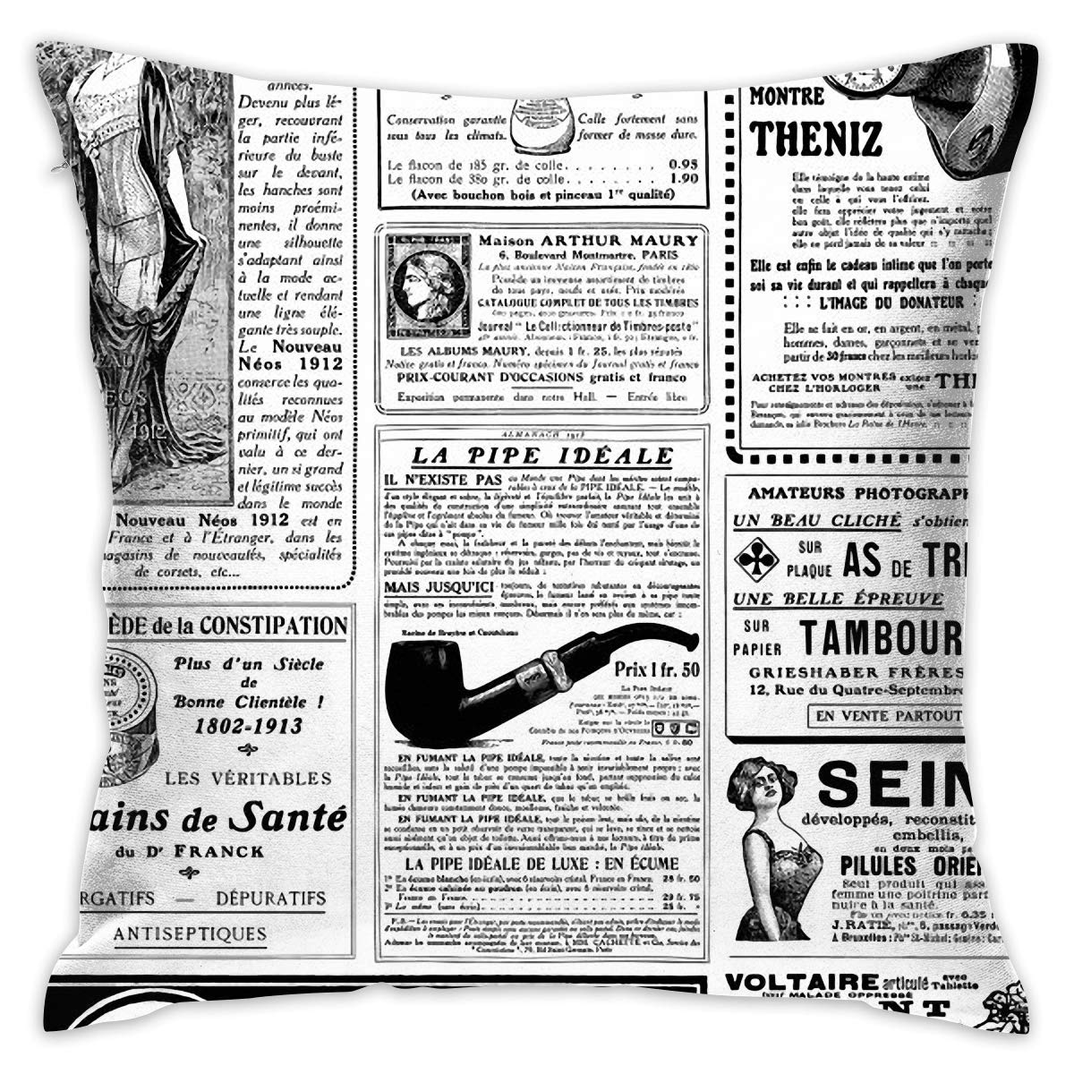 Amazon.com: Old Newspaper Hold Pillow Home Square Cotton ...