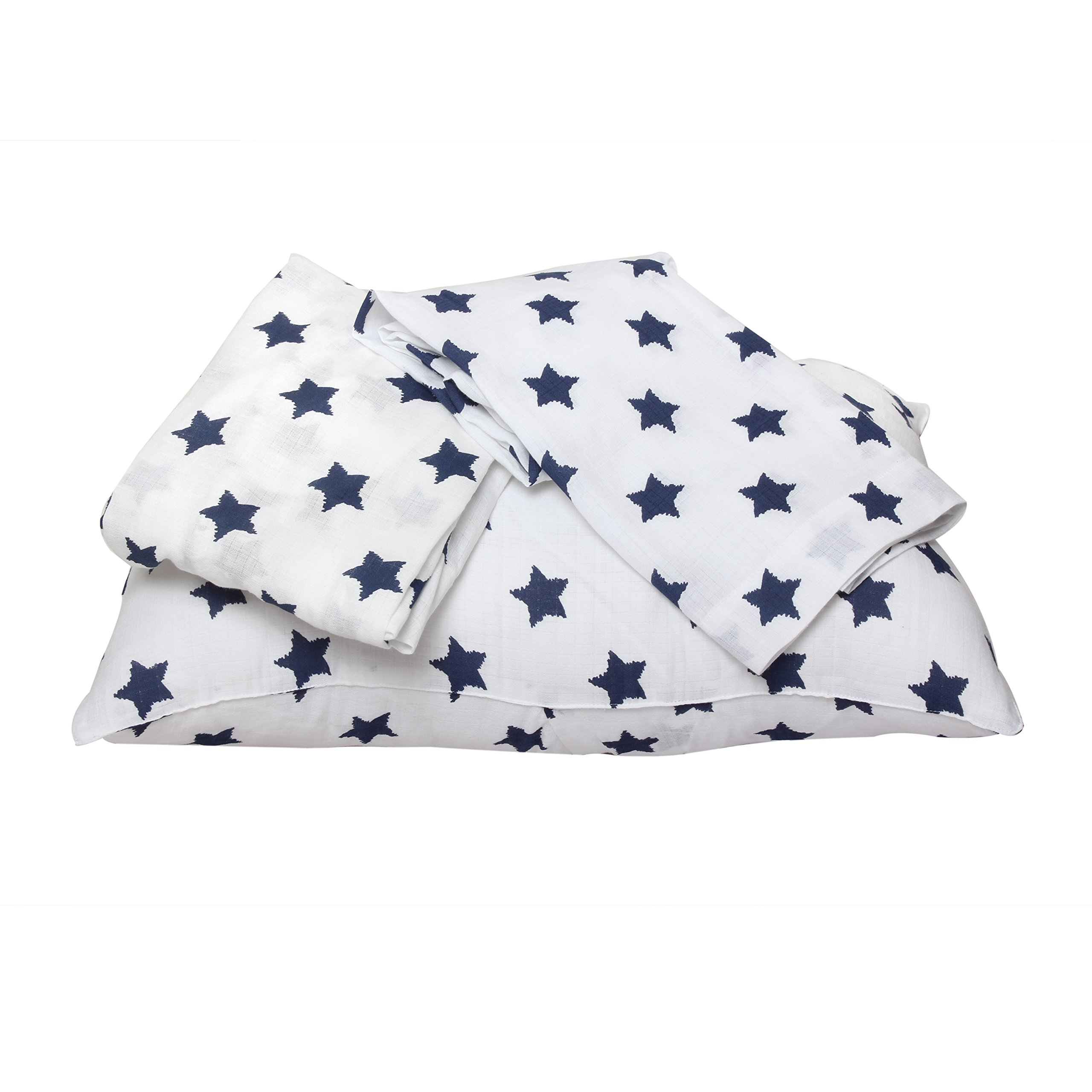 Bacati - Muslin Ikat Stars Toddler Bedding (3 pc Toddler Bed Sheet Set, Navy Stars)