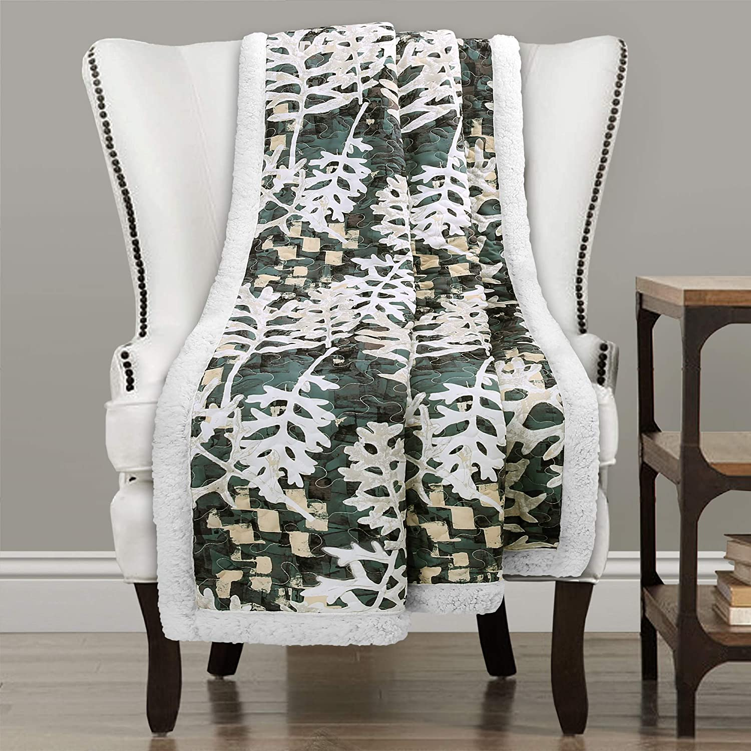 "Lush Decor, Green Camouflage Leaves Reversible Sherpa Throw Blanket with Nature Leaf Print Design-60"" x 50, 60"" x 50"""