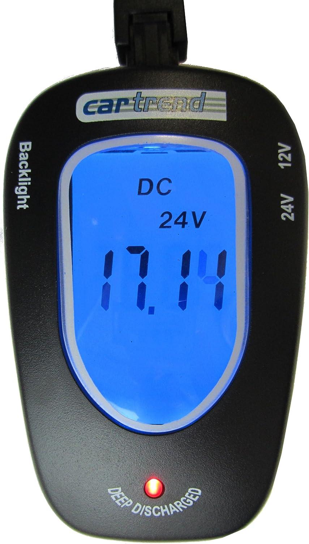 Cartrend 80127 Probador de batería 12 Voltios / 24 Voltios, con indicador LCD iluminado en azul