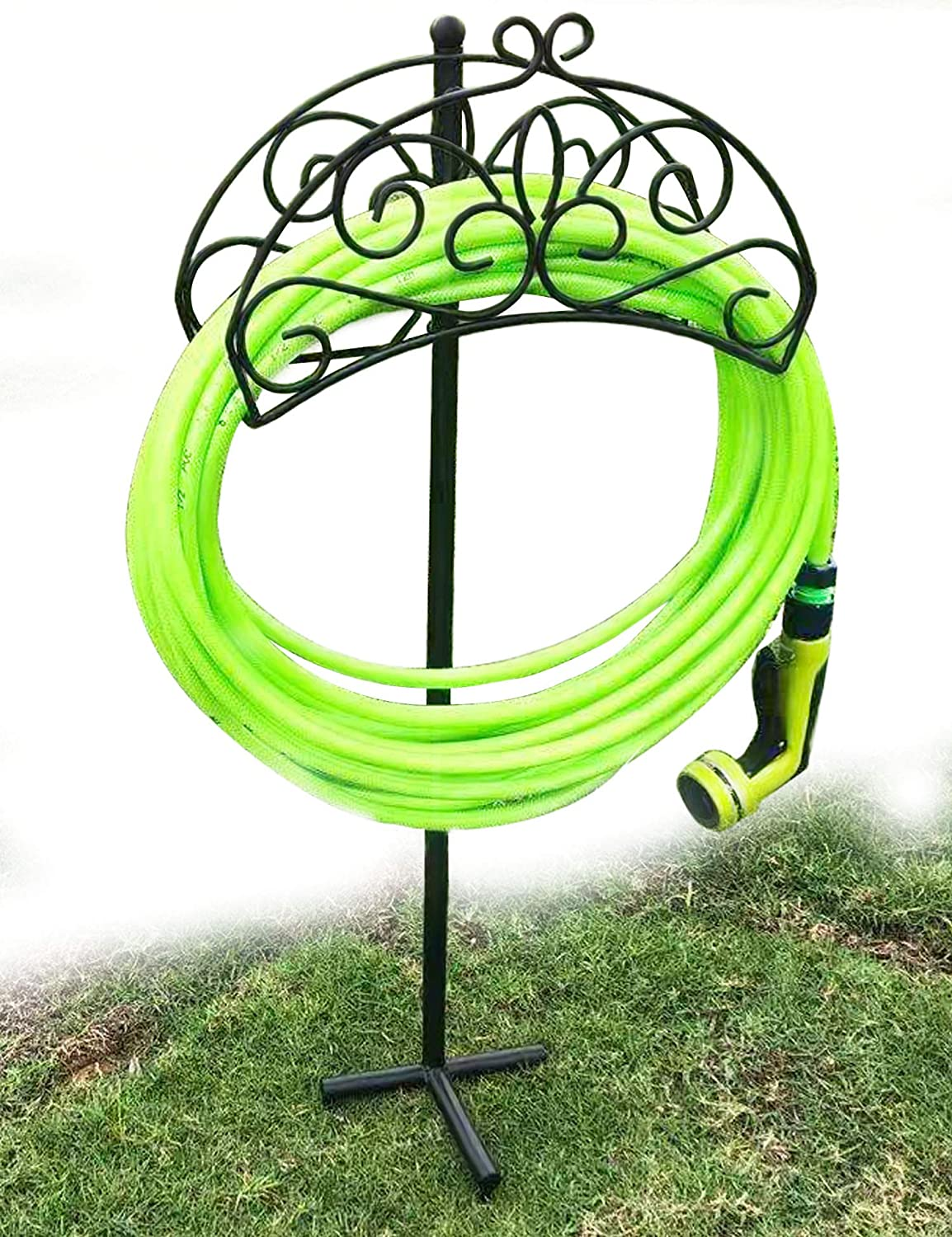 TREEZITEK Free Standing Hose Reel Garden Hose Holder Metal Decorative Sturdy Attractive Hose Storage Stand for Yard
