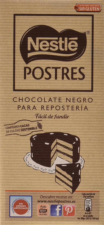 Nestlé Postres Chocolate negro para fundir - Tableta de ...
