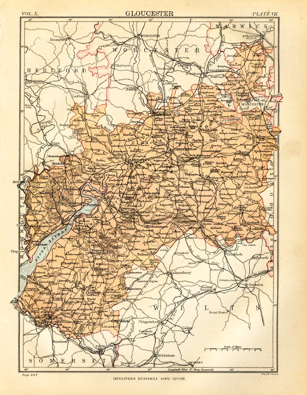 Map Of England Gloucestershire.Gloucester 1898 Antique Engraved Colour Map Gloucestershire