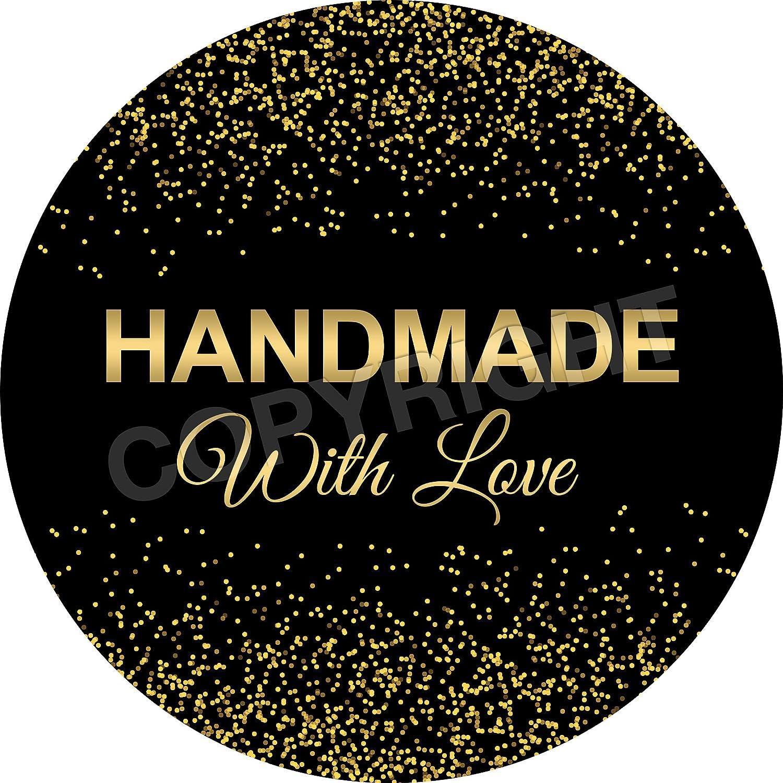 Children 6 Stickers @ 9.5cm Reward Sticker Labels, Teachers Parents Chunky Hamster Handmade With Love Vintage Chalk Retro Gold Glitter