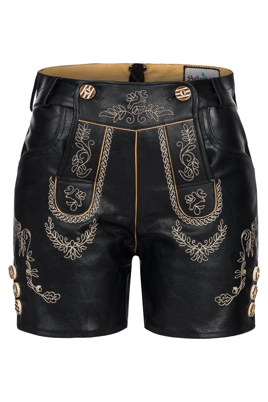 Besondere Damenlederhose kurz , mit aufwendiger Stickerei Traditionell, Schwarz