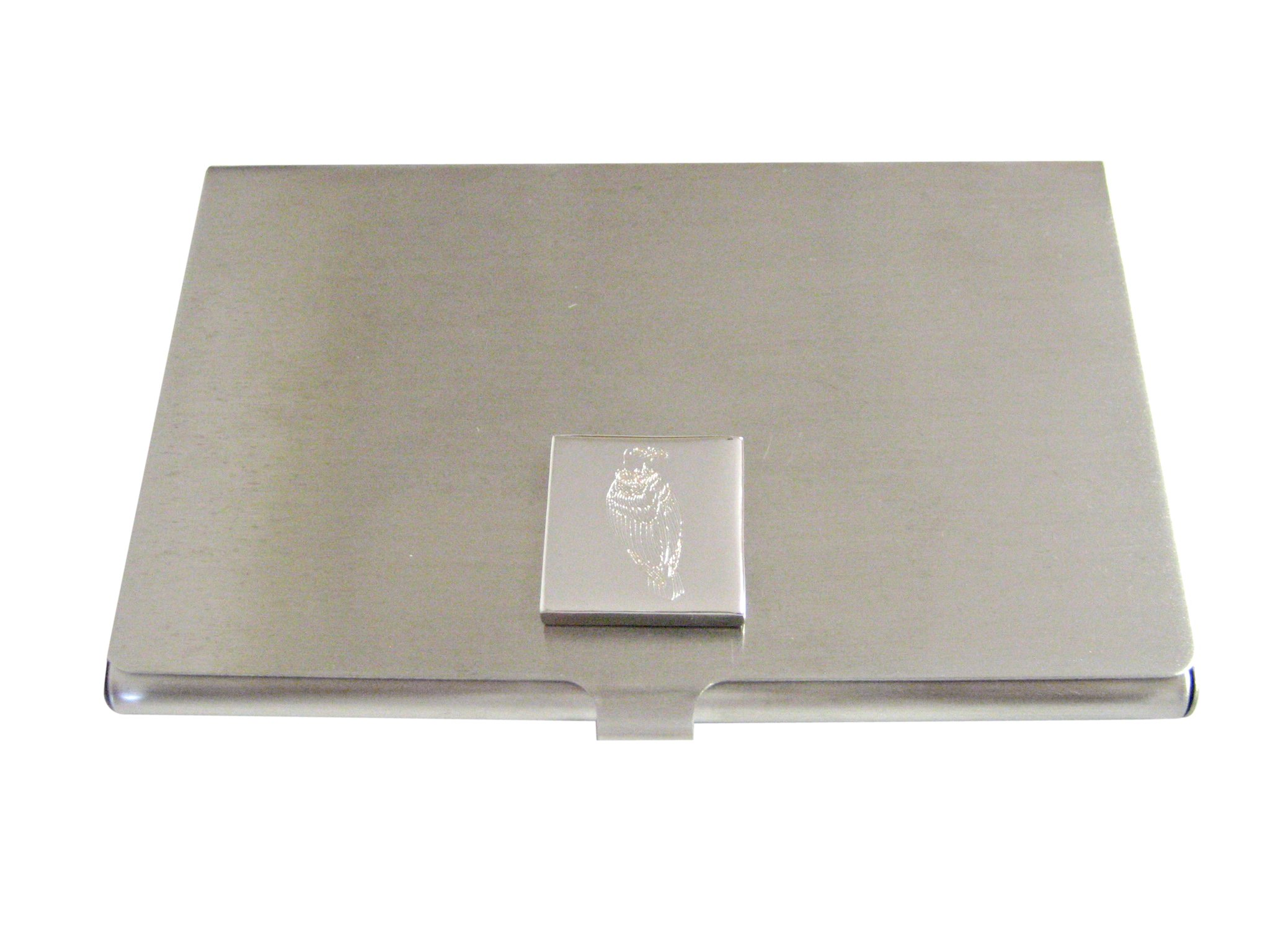 Silver Toned Etched Vulture Bird Business Card Holder