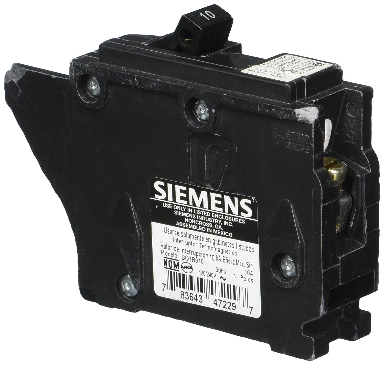 HI Siemens BQ1B010 10-Amp Single Pole 120-Volt10KAIC Lug In//Lug Out Breaker Siemens