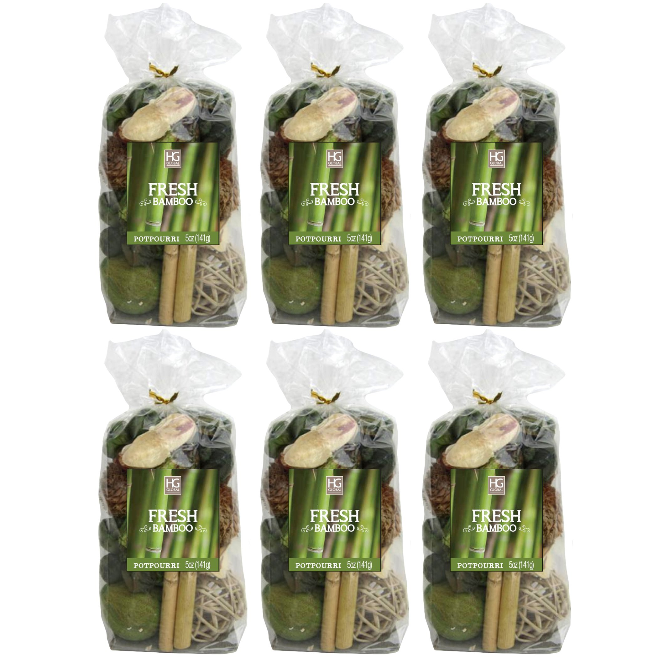 Hosley Set of 6 Bags, 5 Oz Each, Total 30 Oz Fresh Bamboo Chunky Potpourri. Perfect for Wedding or Special Occasion; Special Events, Aromatherapy, Spa, Reiki, Meditation O9 by Hosley