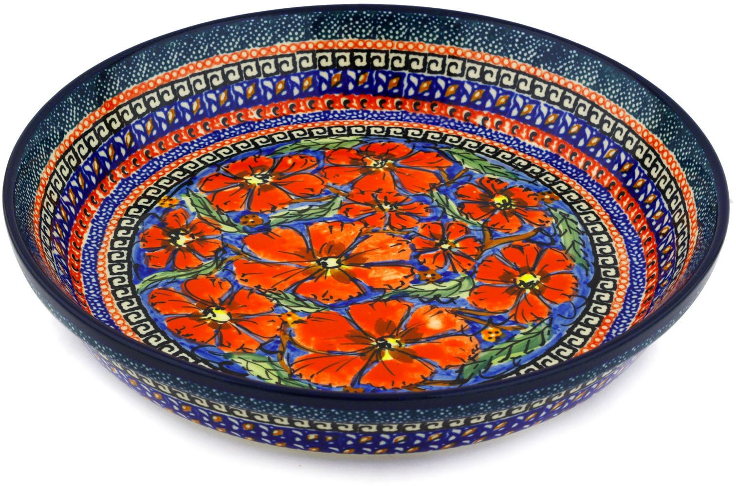 Polish Pottery Pie Dish 10-inch Poppies UNIKAT