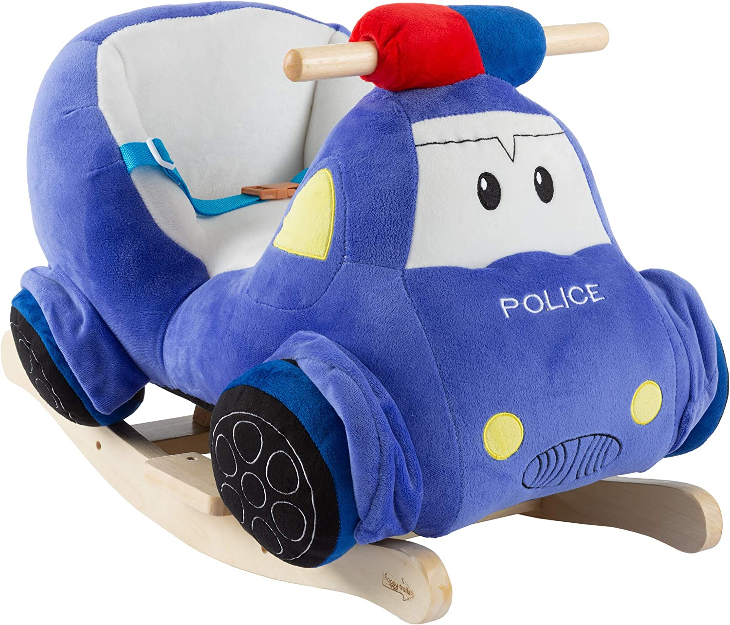 Happy Trails Rocking Police Car Toy- Kids Plush Stuffed Ride On Wooden Rockers with Sounds, Handles-Make Believe Fun for Boys, Girls, Toddlers, Brown
