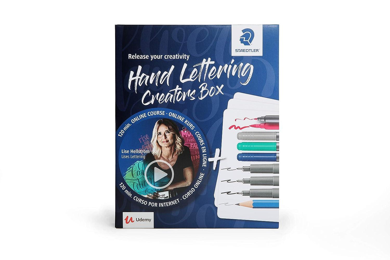 Staedtler Creators Box 61 CR1 Incluye curso online de Lise Hellstr/öm Set de iniciaci/ón al Hand Lettering