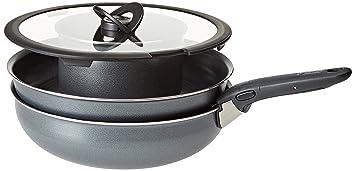 Lagostina Ingenio - Batería Essential de Cocina, Aluminio, Negro, 6 Unidades