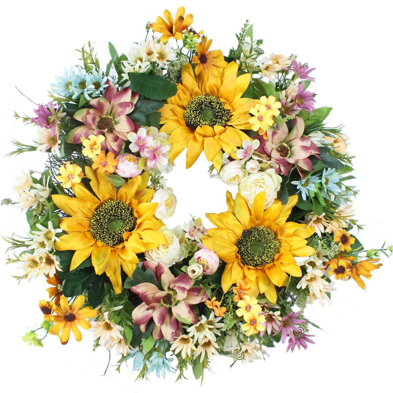 Emlyn 18'' Silk french Window Wreath French Sash wreath For Spring Summer & Fall Wall Décor