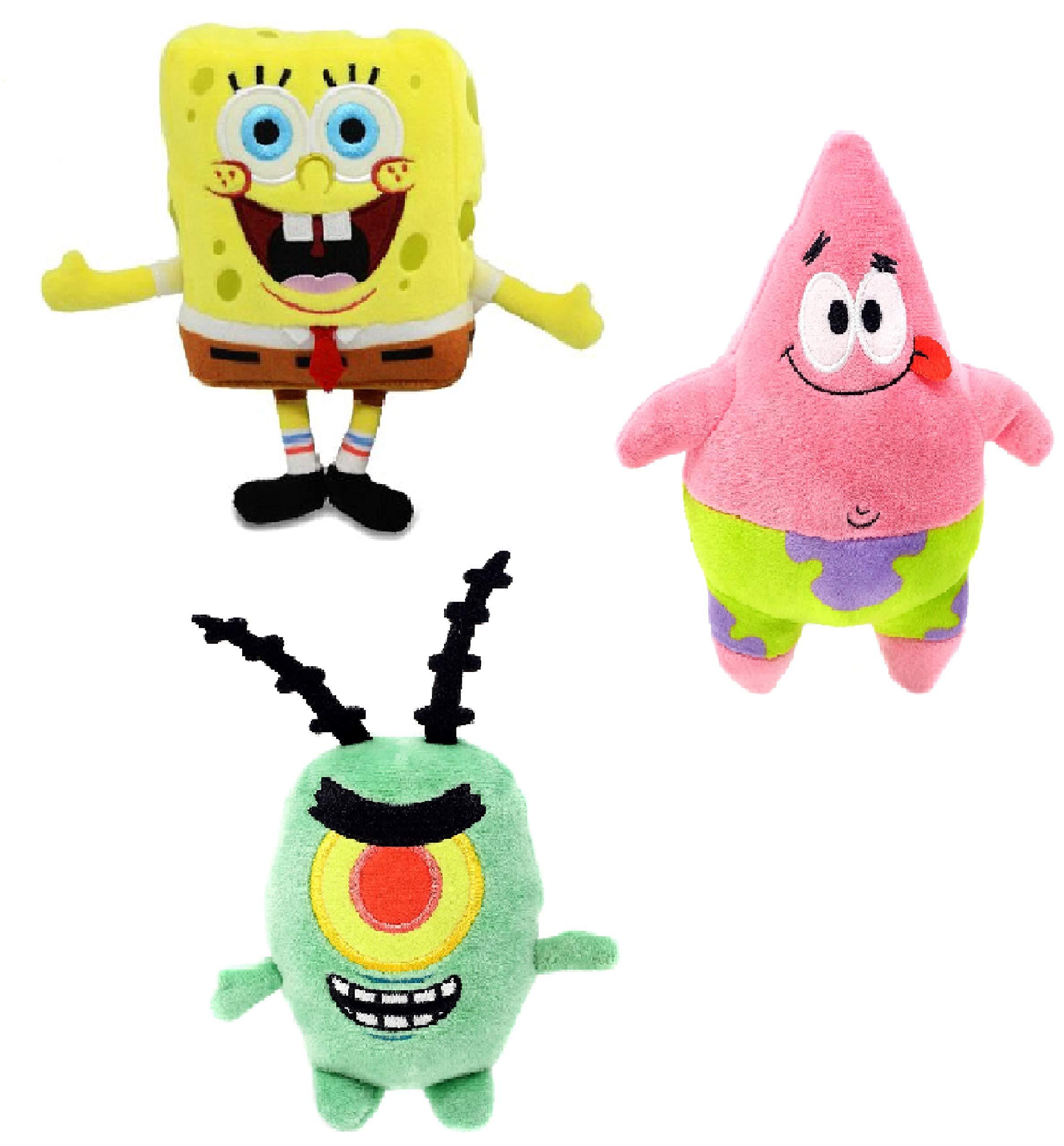 N2 Nickelodeon Spongebob Squarepants Set of 3: Mini Plush [Open Mouth],Patrick and Plankton ( 7'' Each) by N2