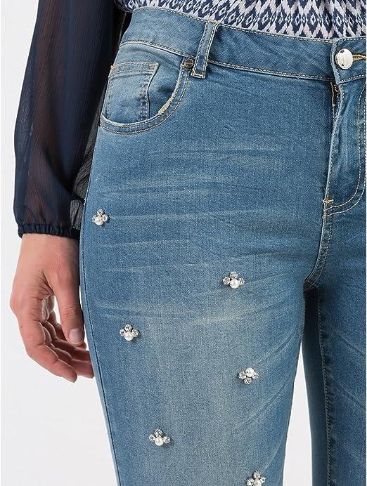 Fiorella Rubino Jeans Skinny con Applicazioni a Stella Italian Plus Size