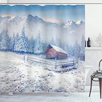 Deer in Woods Shower Curtain Autumn Snow Rustic Lodge Cabin Fall Tree Forest