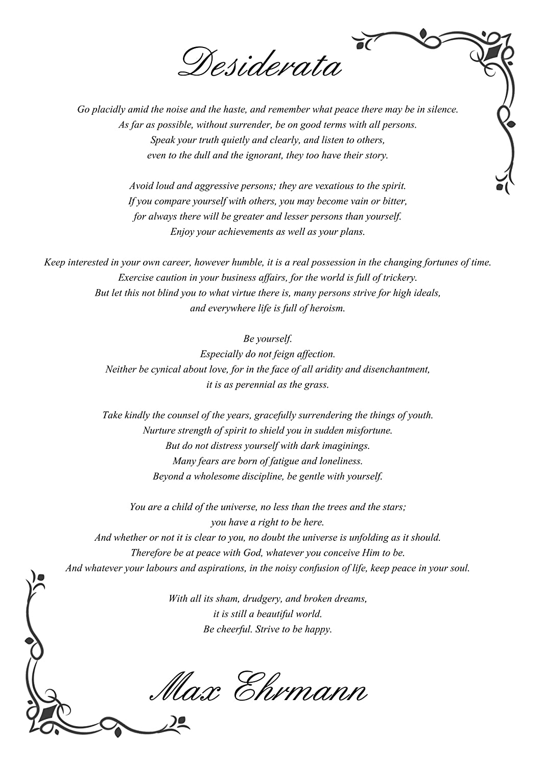 photo about Printable Desiderata referred to as Desiderata Poem By means of Max Ehrmann Print Poems Measurement: A4 - Stop : Gloss