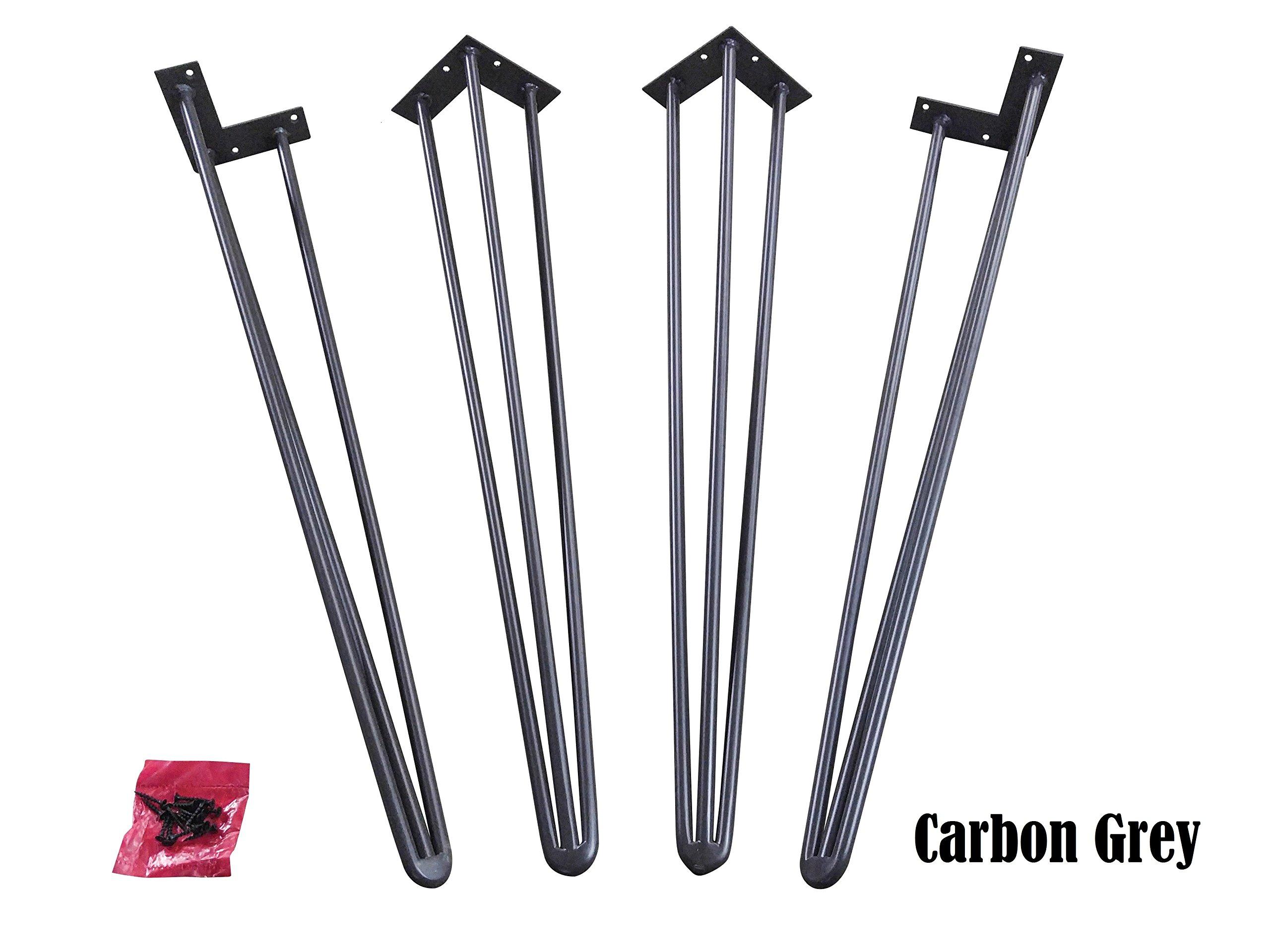 29'' Hairpin Legs (Carbon Grey, Three-Rod)- Super Industrial Strength- 1/2'' Steel- Mid Century Modern - Set of 4 Table Legs