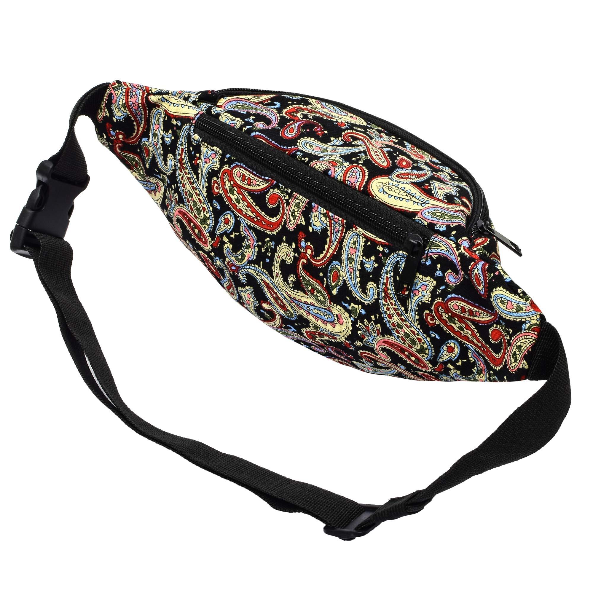 Kayhoma 2 Zippers Paisley Boho Fanny Pack Cute Festival Rave Retro Vintage Flat Bum Bags Travel Waist Belt Purse