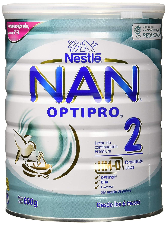 NAN OPTIPRO 2 - A partir de los 6 meses - Leche de continuación en polvo - Fórmula para bebés - 800g Sin Aceite de Palma: Amazon.es: Alimentación y bebidas