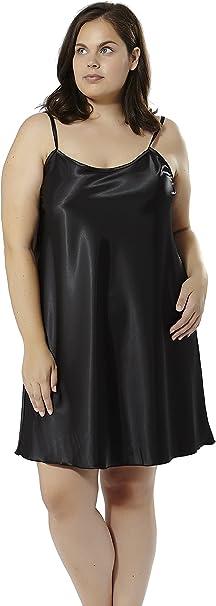 Mabel Big Beauty Camison De Raso Negro Talla 54 Tallas Grandes Amazon Es Ropa Y Accesorios