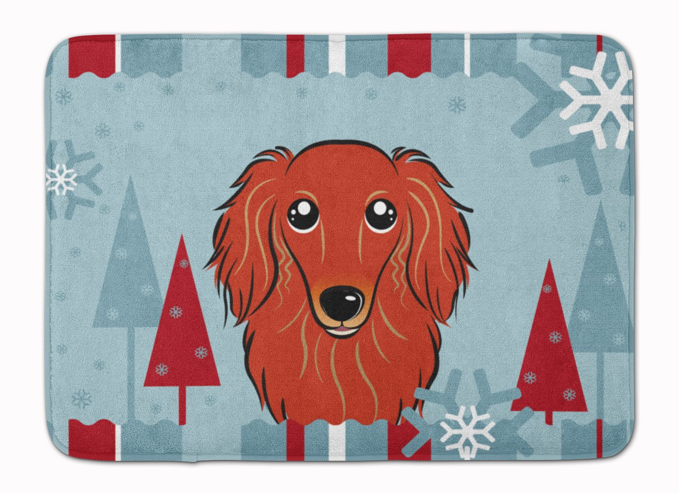 Carolines Treasures Winter Holiday Longhair Red Dachshund Floor Mat 19 x 27 Multicolor