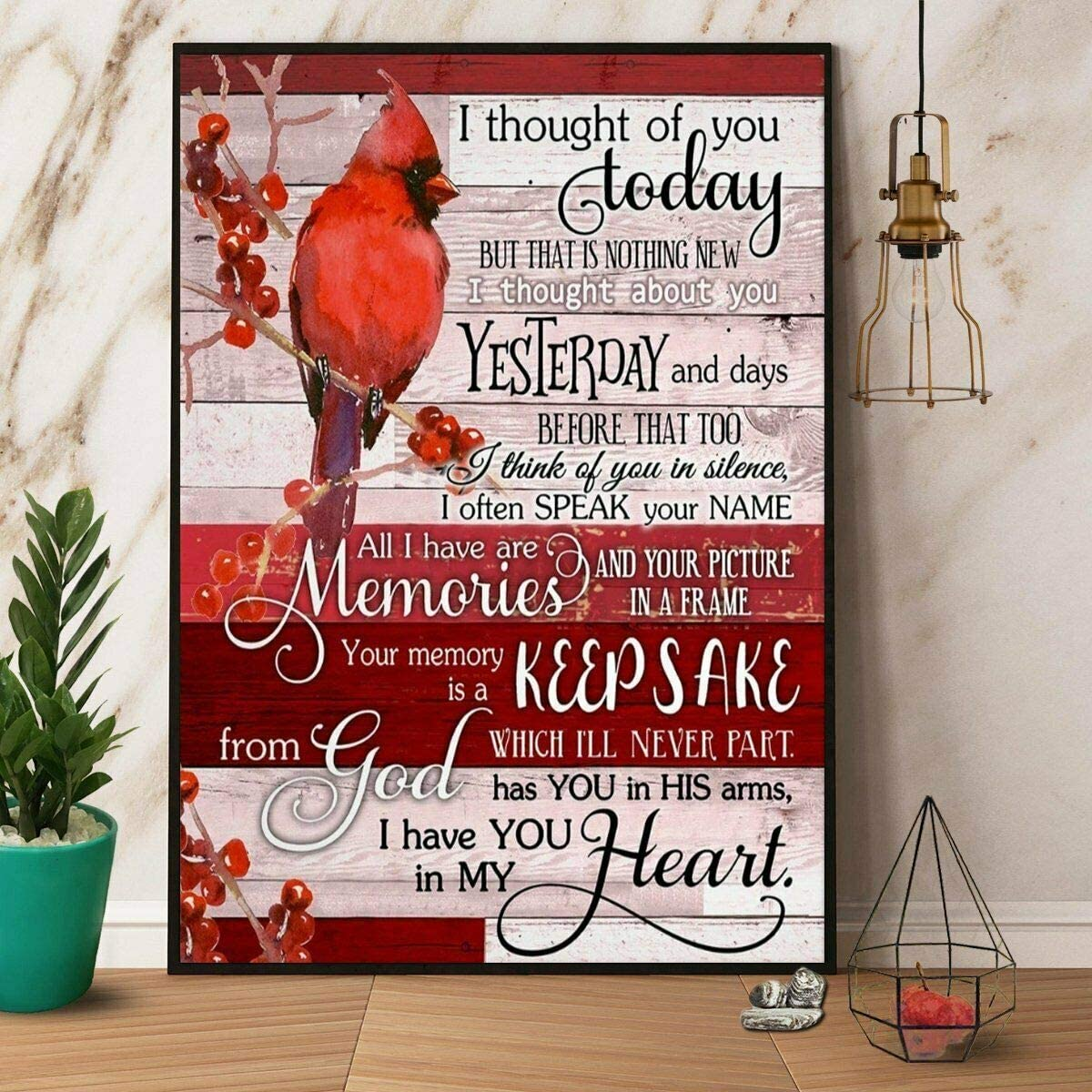Christmas Cardinal I Thought Of You Today Poster Art Print Decor For Home