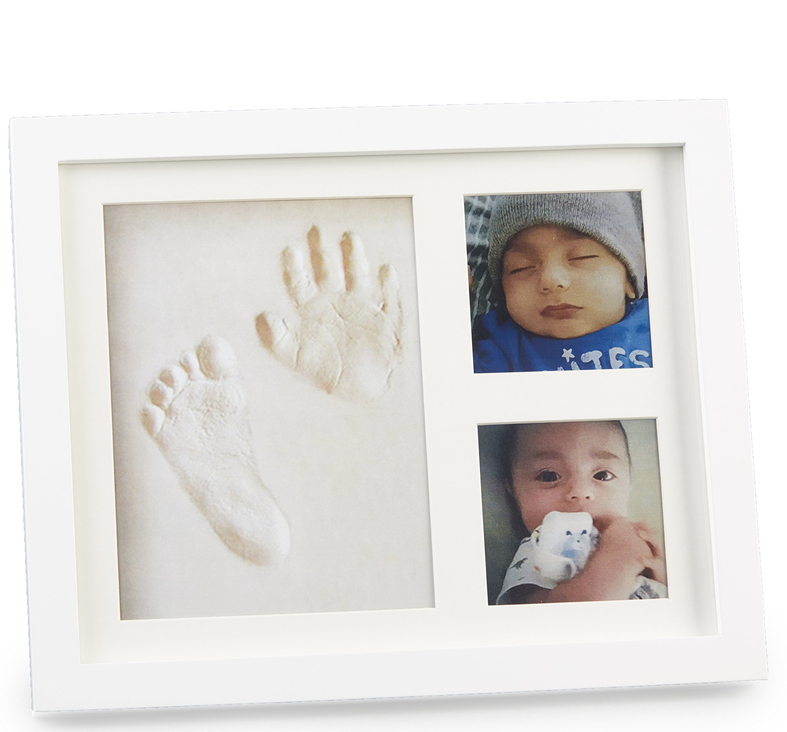 Baby Handprint Picture Frame Clay Kit for Newborn Girls and Boys by Baby Yei - The Photo Frames are Fully Painted White-Prevents Mold Creation-Safe for Treasuring your Angel's First Precious Memories by Baby Yei