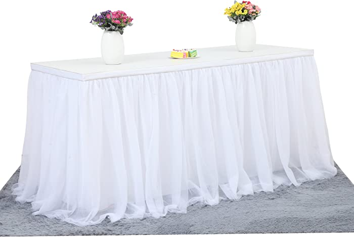 6ft White Tulle Table Skirt for Rectangle or Round Table Tutu Table Skirt Table Cloth For Party Wedding Birthday Party&Home Decoration(L6(ft) H 30in, White)