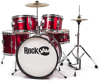 RockJam completo de 5 piezas Tambor Junior con los platillos Trono ajustable y Accesorios los palillos Rojo