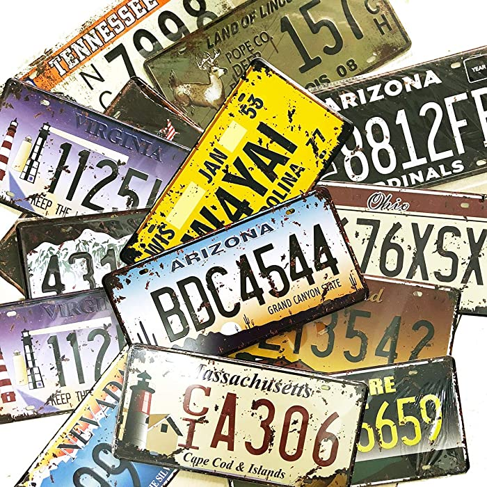 6 Pieces Assorted Retro Vintage State Number Tags, 3D Embossed Licenses, Home Wall Decoration