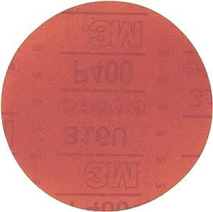 3M Hookit Red Abrasive Disc, 01218, 6 in, P400, 50 discs per carton