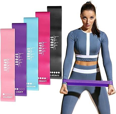 Nicole Miller Resistance Bands Set Exercise Workout Bands Loops 3 or 5 Resistance Levels Pack Set for Women Men Booty Leg