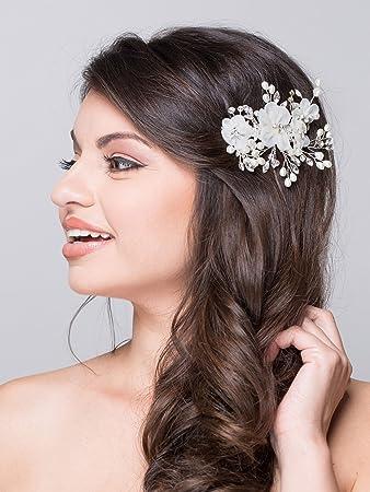 Amazoncom Aw Bridal Flower Side Hair Clip Freshwater Pearl Wedding