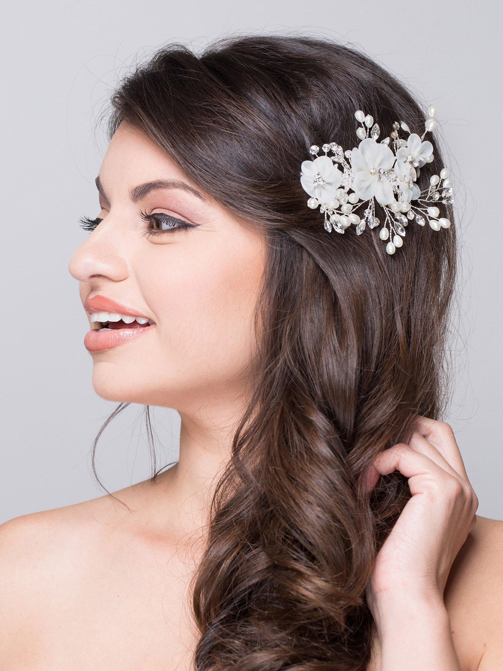 AW BRIDAL Flower Side Hair Clip Freshwater Pearl Wedding Headpiece Women's Hair Pin Comb