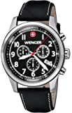 Wenger Terragraph Chrono Men's Quartz Watch with Black Dial Analogue Display and Black Leather Strap 010543101