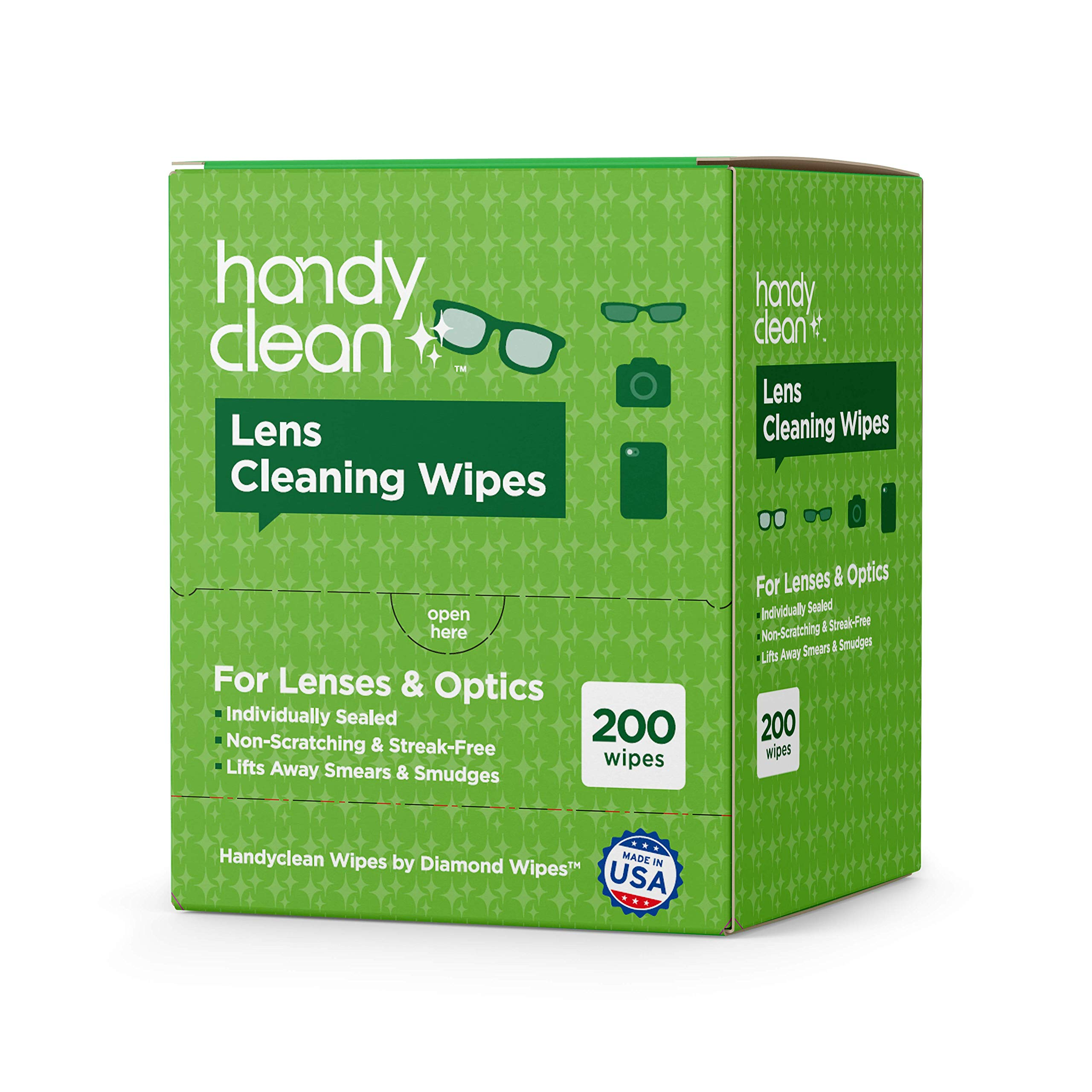 Pre-moistened Lens and Glass Cleaning Wipes: for Glasses, Camera, Cell Phone, Smartphone, and Tablet – Safe for AR Lenses, Quick Drying, Streak Free, Disposable - Individually Wrapped - 200 Pack