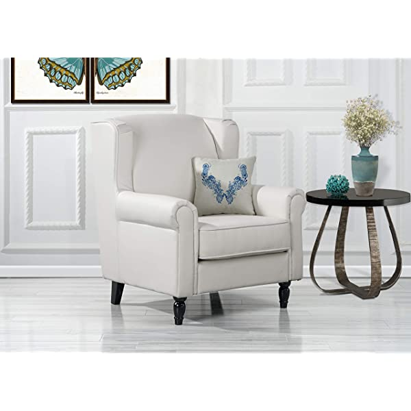 Overstock Modern Living Room Accent Arm Chair in Faux Leather White