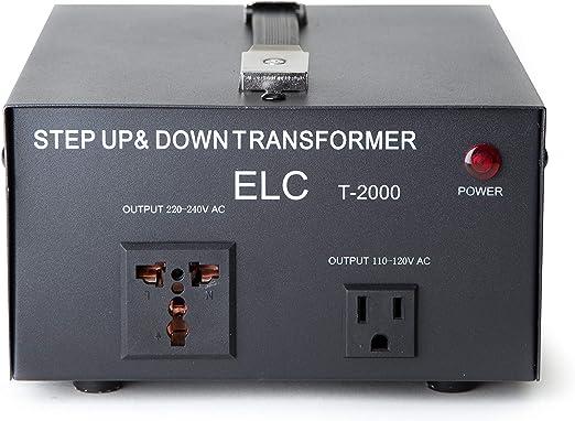 Amazon.com: ELC T-2000 2000-Watt Voltage Converter Transformer - Step Up/Down - 110V/220V - Circuit Breaker Protection [3-Years Warranty]: Home Audio & Theater
