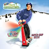 Geospace Original LED Ski Skooter: Fold-up Snowboard Kick-Scooter for Use on Snow, Assorted Colors (Red, Green or Blue)