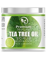 Tea Tree Body & Foot Scrub - 12 oz 100% Natural Exfoliator - Best Fungal Prevention Acne Dandruff Calluses Athlete's Foot Jock Itch - Premium Nature