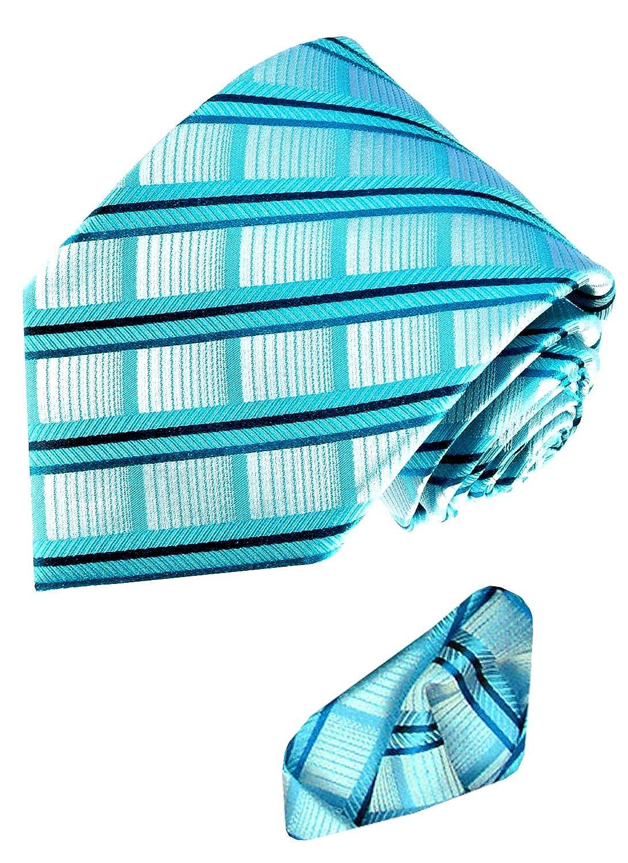 Lorenzo Cana - Marken 2er Set aus 100% Seide - Blaugrün Türkis karierte Krawatte mit kariertem Einstecktuch - 8439201