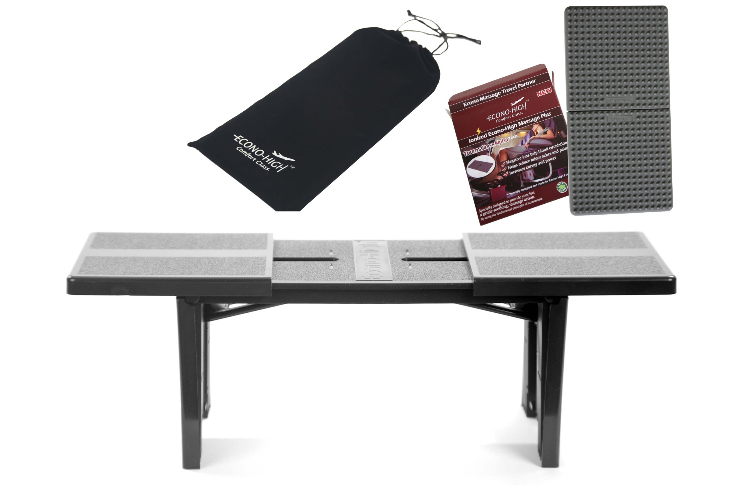 Econo High Portable Folding Travel Footrest WITH New Ionized Silicone MASSAGE PLUS BUNDLE PACKAGE! (Black)