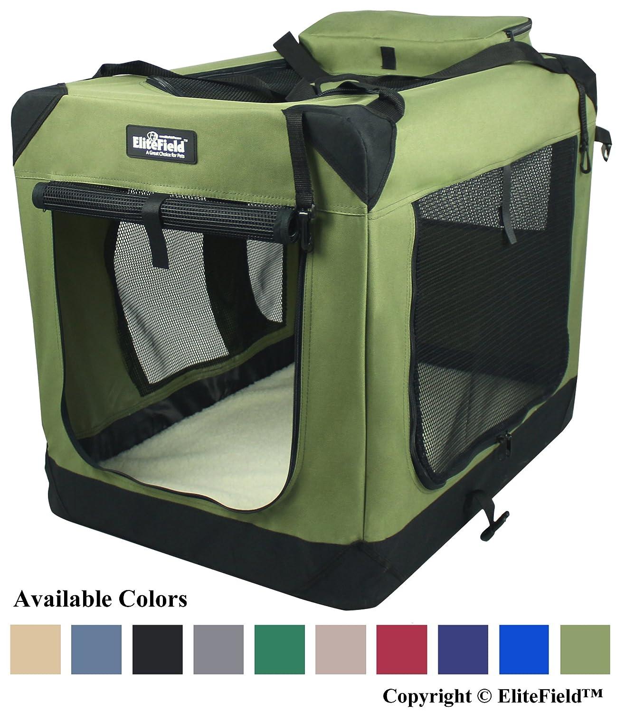 EliteField Sage Green 24  3-Door Soft Dog Crate, 24  long x 18  wide x 21  high