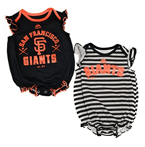 9711f5d05 San Francisco Giants Girls 2pc Creeper Bodysuit Team Sparkle Set Infant  Baby Black Gray (6